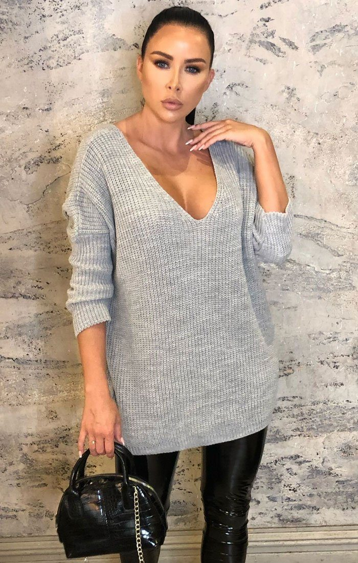 Grey Deep Plunge Knitted Oversized Jumper - Rosie