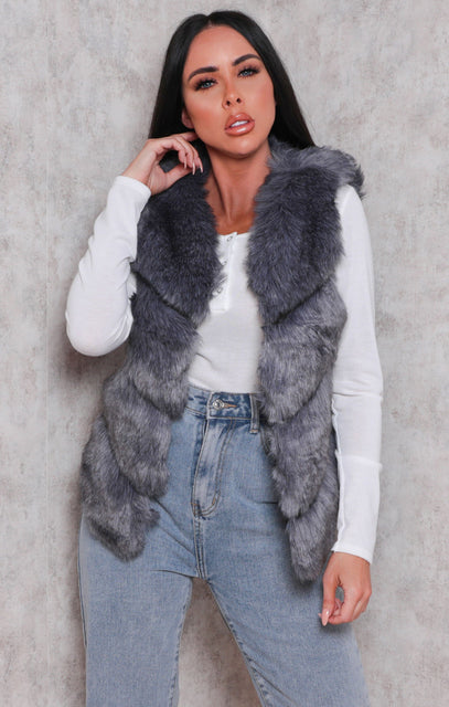 Grey Faux Fur Furry Gilet - Rachel