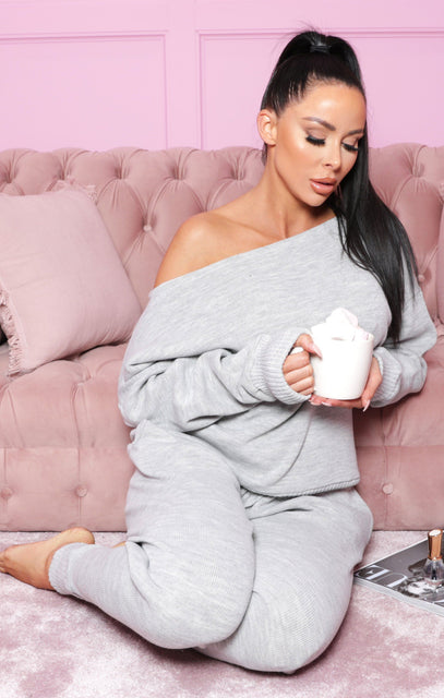 Grey Fine Knit Off The Shoulder Loungewear - Zoe