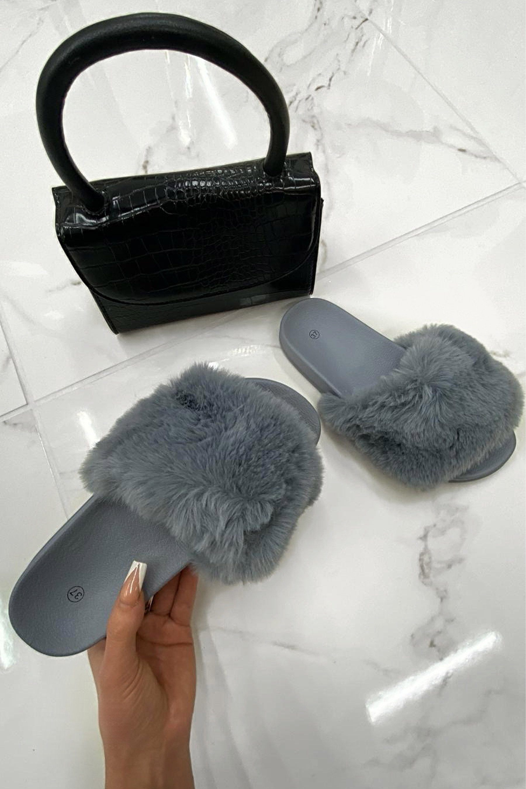Grey Fluffy Faux Fur Sliders - Odelia