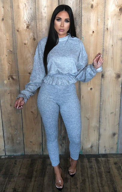 Grey Frill Jumper Loungewear Set - Amora