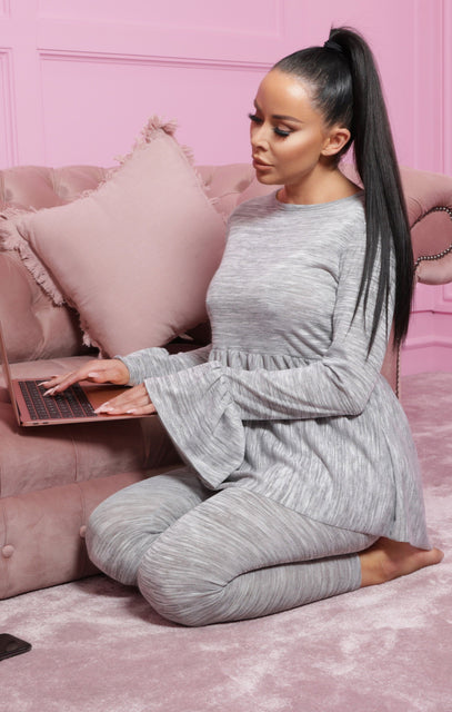 Grey Frill Long Line Top Leggings Loungewear Set - Alice