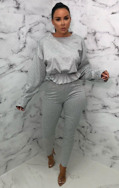 Grey Frill Waist Loungewear Set - Charli