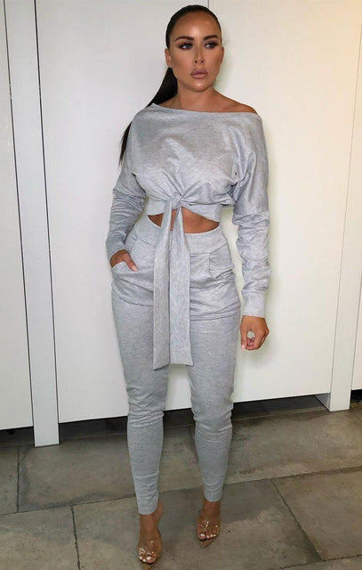 Grey Front Tie One Shoulder Loungewear Set - Kayla