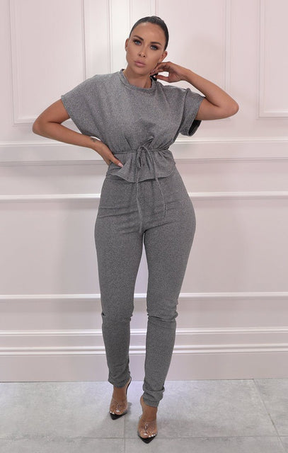 Grey Glitter Tie Waist Top Leggings Loungewear Set - Lannie