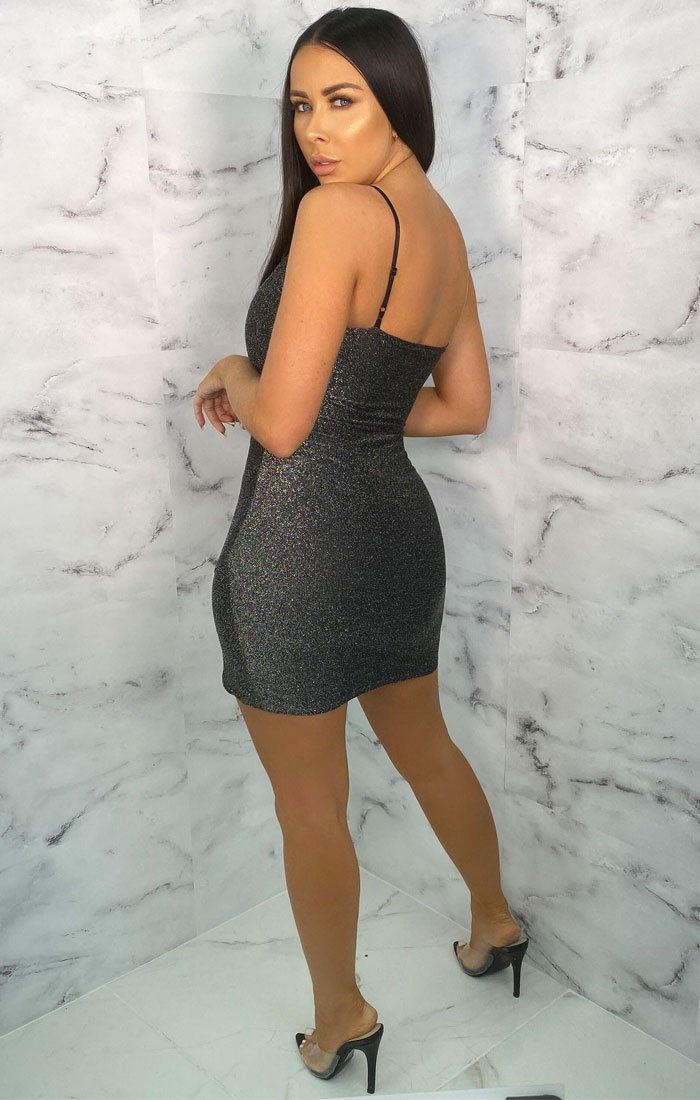 Grey Glitter Wrap Strappy Bodycon Mini Dress - Betsy