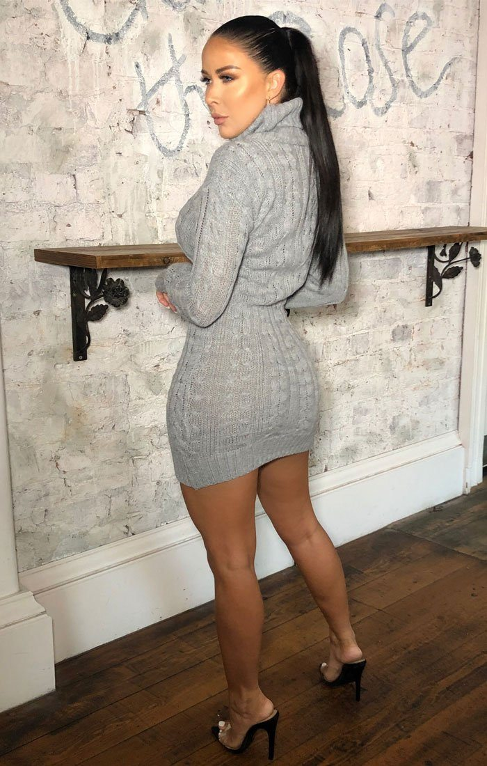 Grey Knitted Long Sleeve Bodycon Jumper Dress - Alida