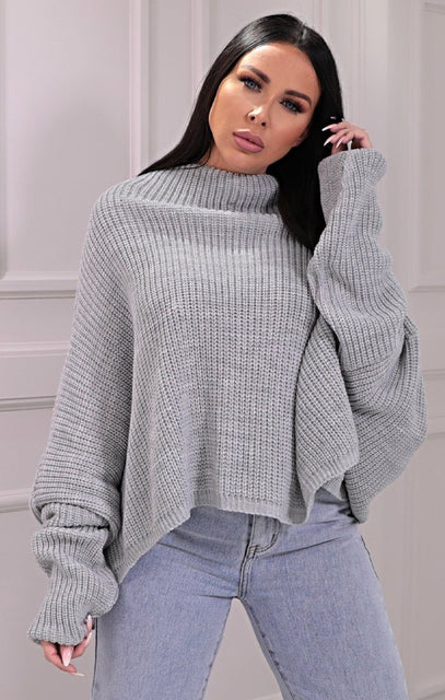 Grey Knitted Oversized Jumper - Brea