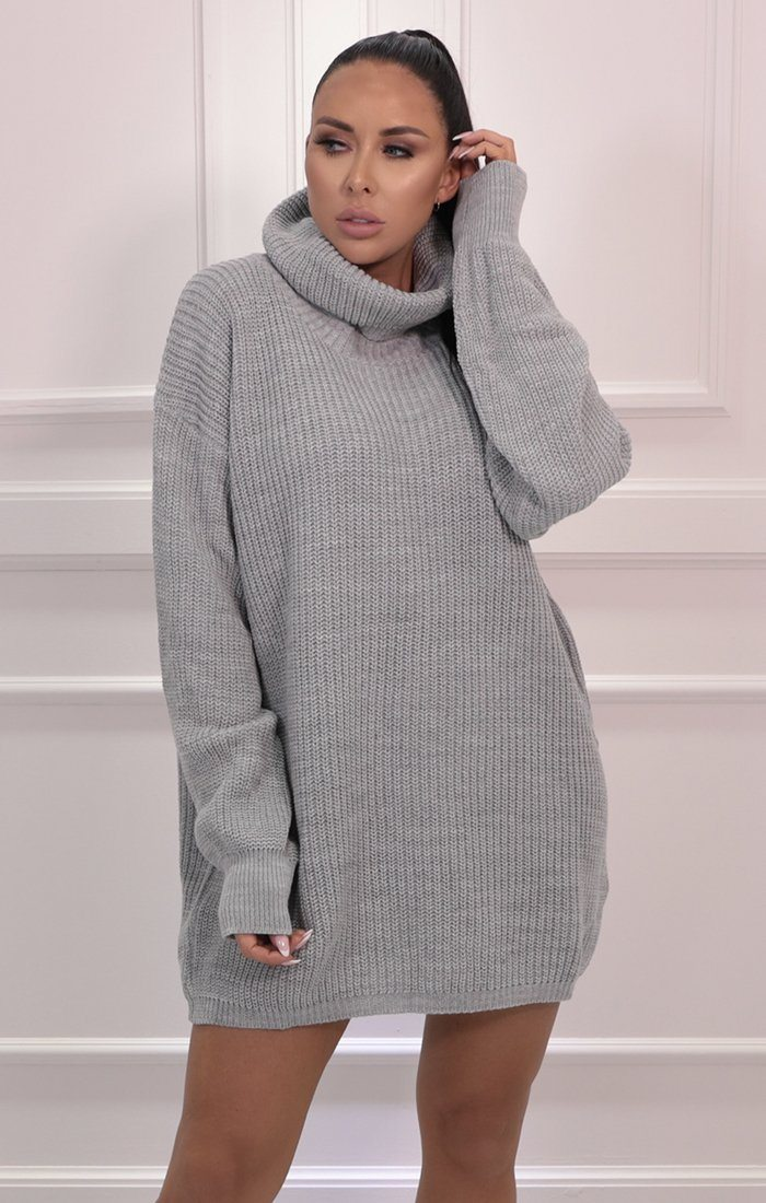 Grey Knitted Turtleneck Mini Jumper Dress