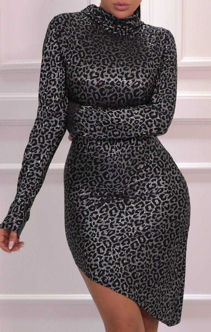 Grey Leopard Print High Neck Bodycon Asymmetric Midi Dress - Cattie