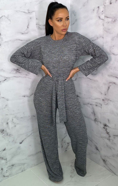 Grey Long Sleeve Belted Flare Leg Jumpsuit - Marnie