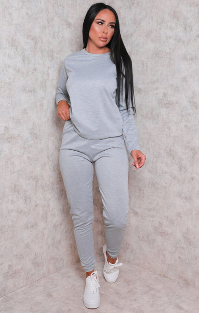 Grey Long Sleeve Boxy Cuffed Joggers Loungewear Set - Amor