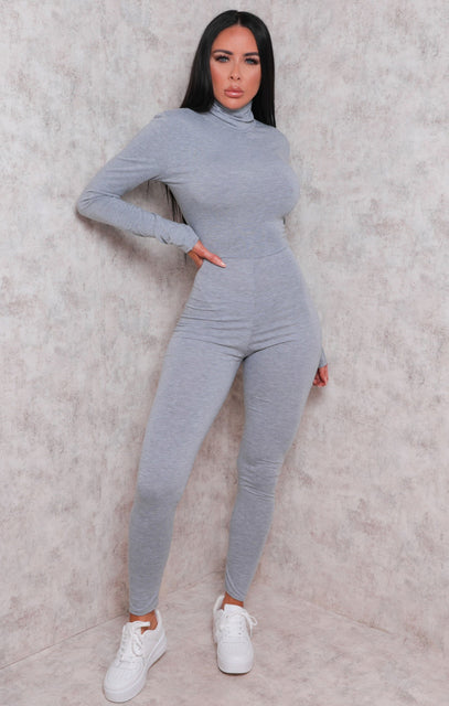 Grey Long Sleeve High Neck Jumpsuit - Marissa