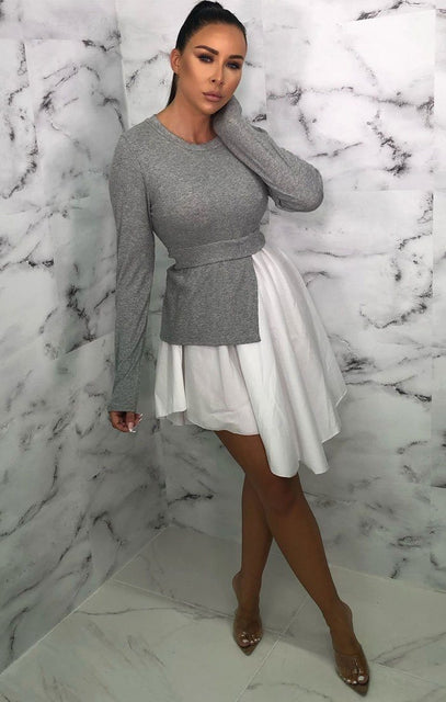 Grey Long Sleeve Jumper Peplum Shirt Dress - Marie