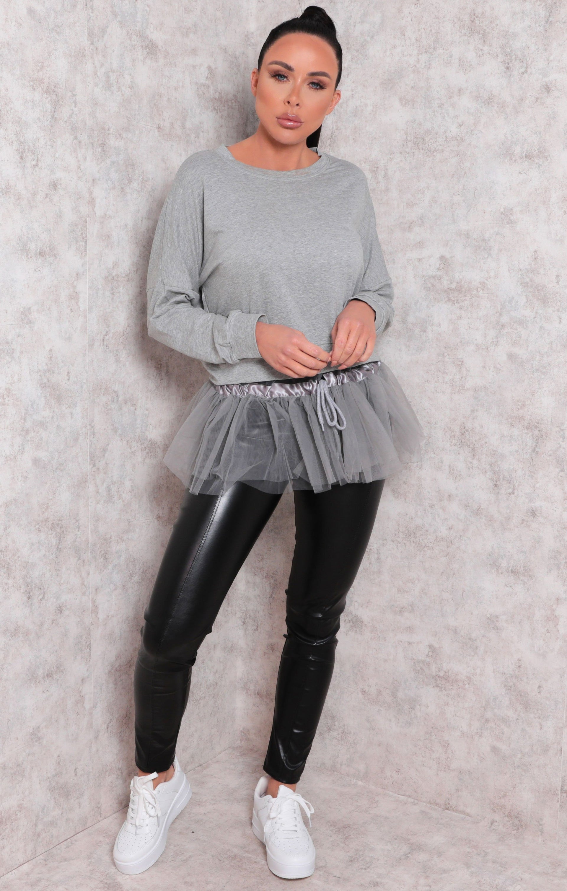 Grey Long Sleeve Sweatshirt Tulle Top - Eros