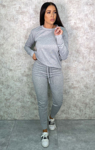 Grey Long Sleeve Top Joggers Loungewear Set - Destiny