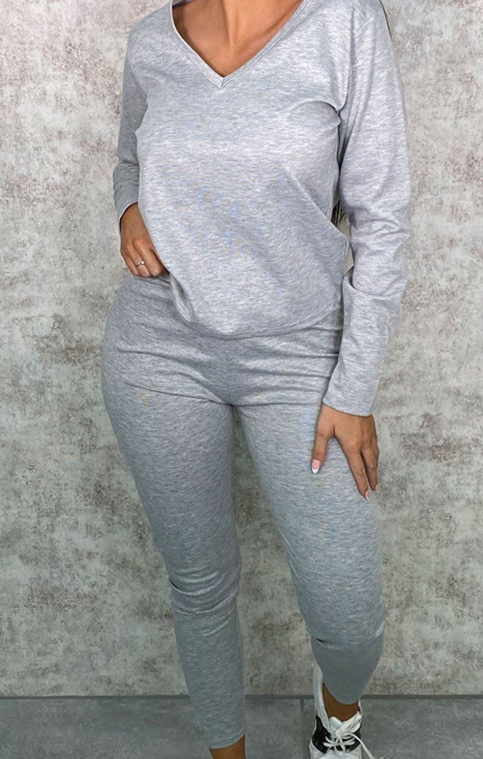 Grey Long Sleeve V Neck Leggings Loungewear Set - Acadia