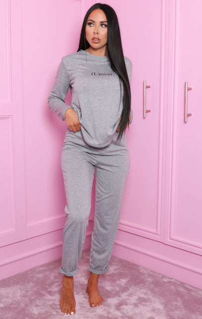 Grey 'L(over)' Slogan Print Long Sleeve Pyjama Set - Alena