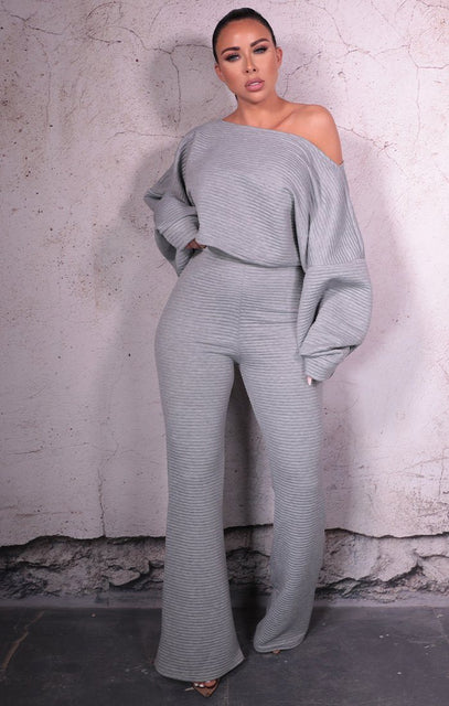 Grey Luxe Soft Ribbed Wide Leg Loungewear Set - Paris