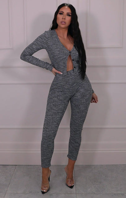 Grey Marl Ribbed Cardigan Loungewear Set - Florence