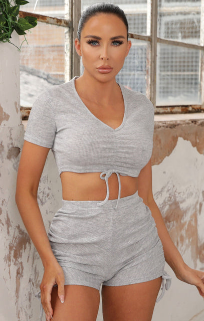 Grey Marl Ruched High Waisted Shorts Co-ord - Kadie