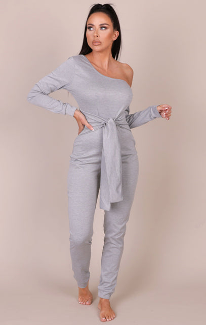 Grey Marl Tie Waist One Shoulder Jumpsuit - Ryleigh