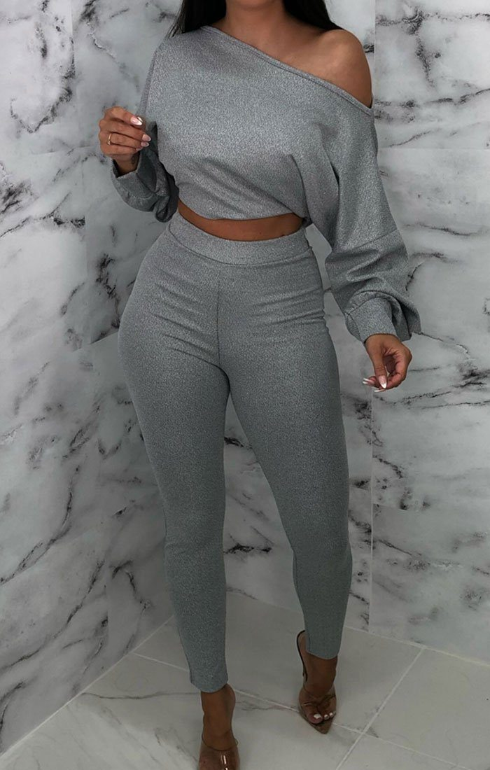 Grey Metallic One Shoulder Co-ord - Lucee
