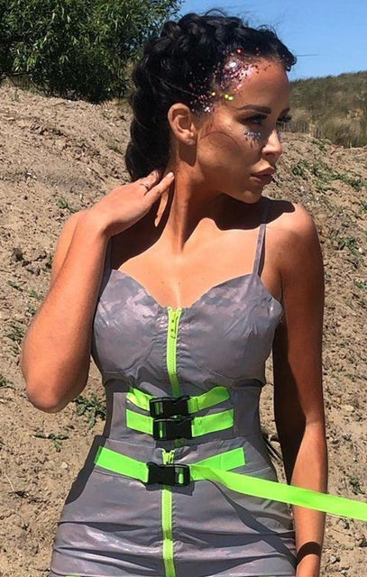 Grey & Neon Green Reflective Top - Isla