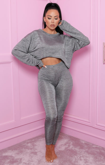 Grey Off The Shoulder Loungewear Set - Imana