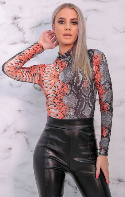 Grey & Orange Snake Print High Neck Mesh Bodysuit - Eileen