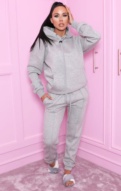 Grey Oversized Hoodie & Joggers Loungewear Set - Snipe