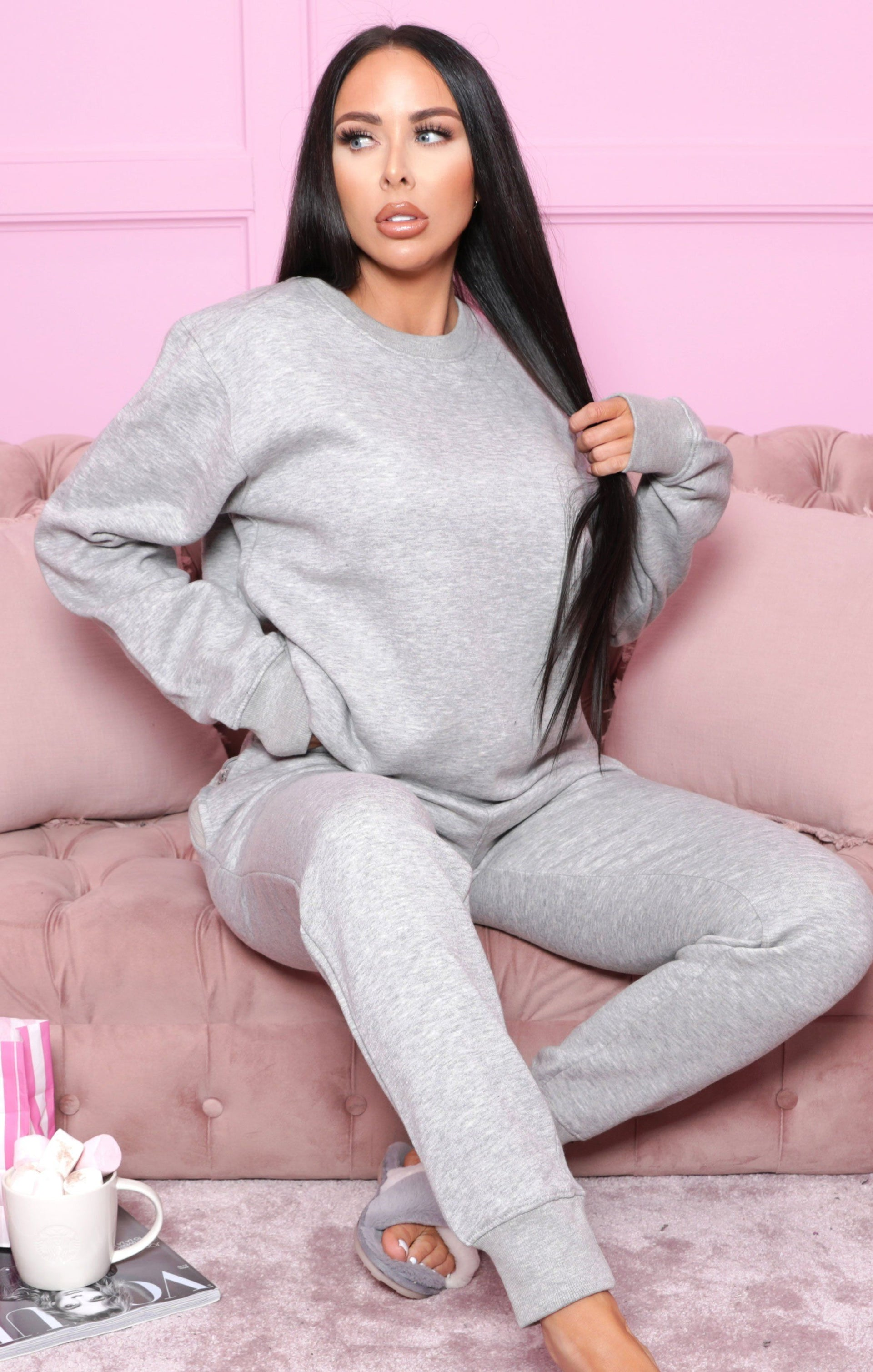 Grey Oversized Sweatshirt Joggers Loungewear Set - Christina FL233
