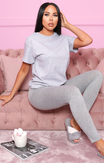Grey Oversized T-Shirt & Leggings Loungewear Set - Everleigh