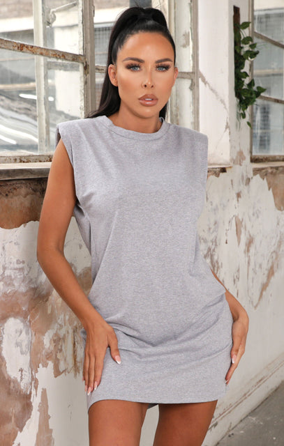 Grey Padded Shoulder Sleeveless T-Shirt Mini Dress - Marrisa