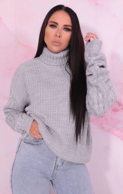Grey Polo Neck Cable knit Sleeve Jumper - Katie