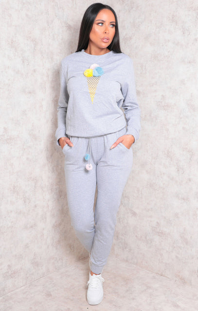 Grey Pom Pom Ice Cream Print Loungewear Set - Jadis