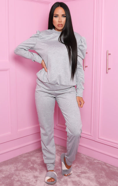 Grey Puff Shoulder Long Sleeve Loungewear Set - Adilynn