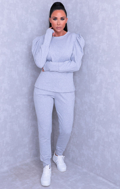 Grey Puff Sleeve Joggers Loungewear Set - Reece