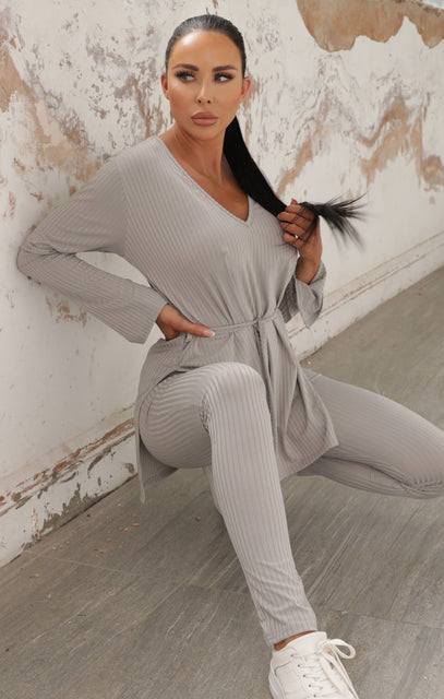 Grey Ribbed Belted Loungewear Set - Asia