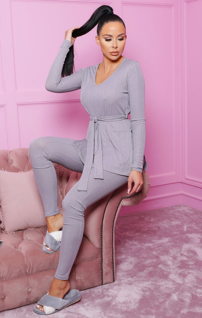 Grey Ribbed Belted Loungewear Set - Leah