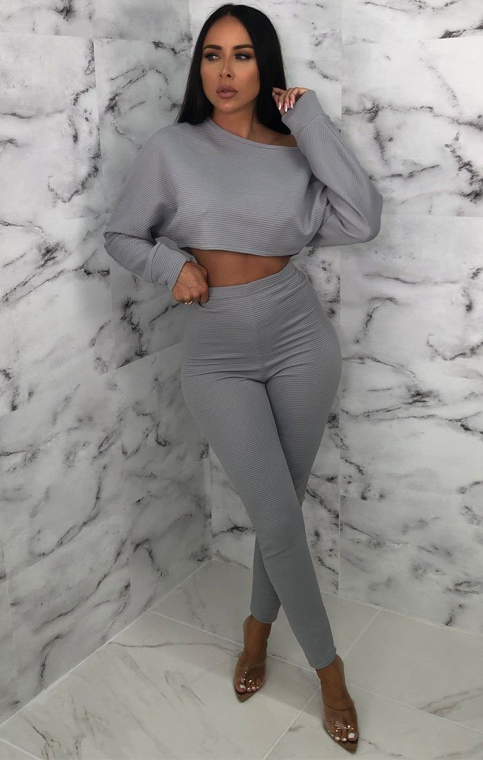Grey Ribbed Cropped Loungewear Set - Oscar