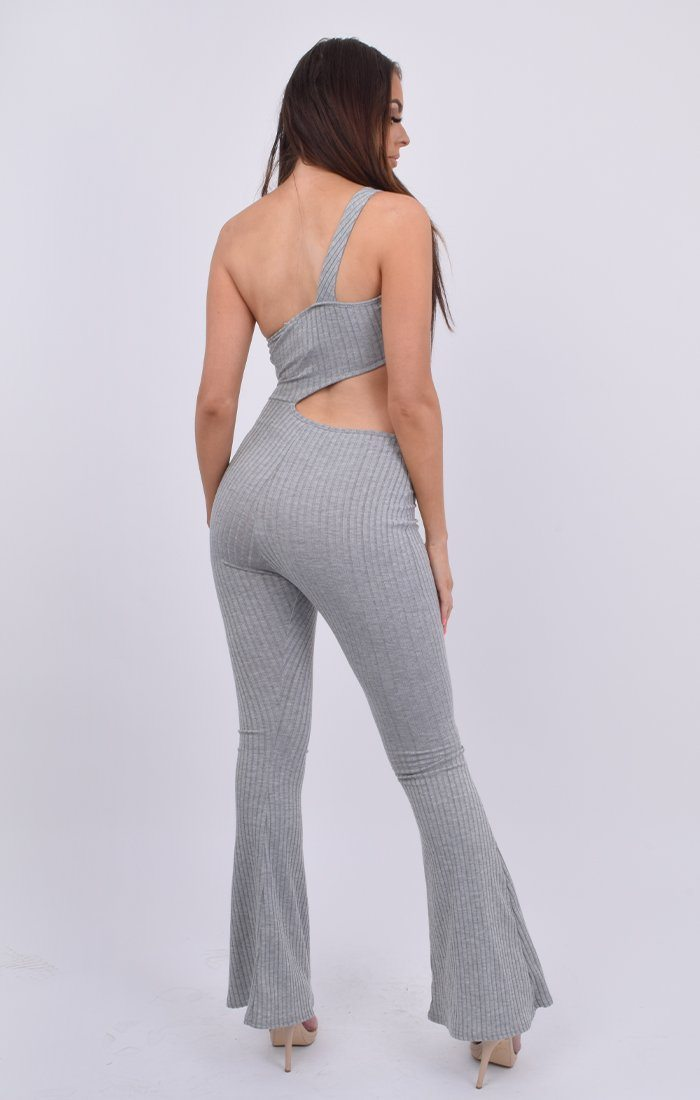 Grey Ribbed Cut Out One Shoulder Jumpsuit - Eda