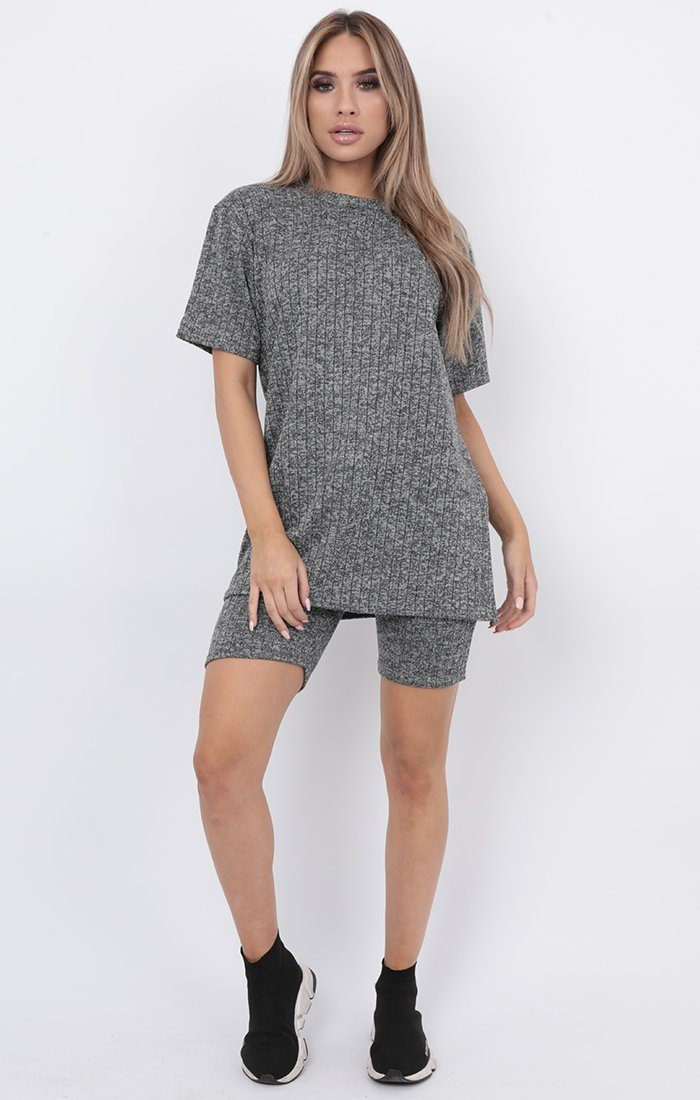 Grey Ribbed Cycling Shorts Co-ord - Daisy
