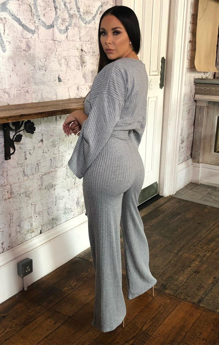 Grey Ribbed Flare Sleeve Loungewear - Neveah