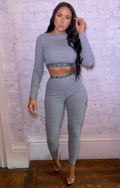 Grey Ribbed Geometric Glitter Hem Loungewear Set - Jolie