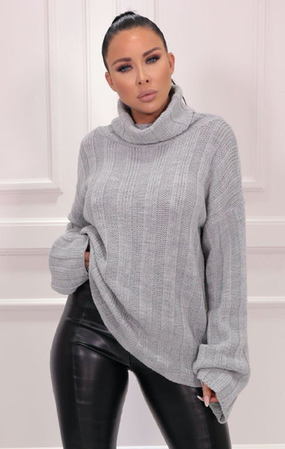 Grey Ribbed Knit Polo Neck Jumper - Vogue