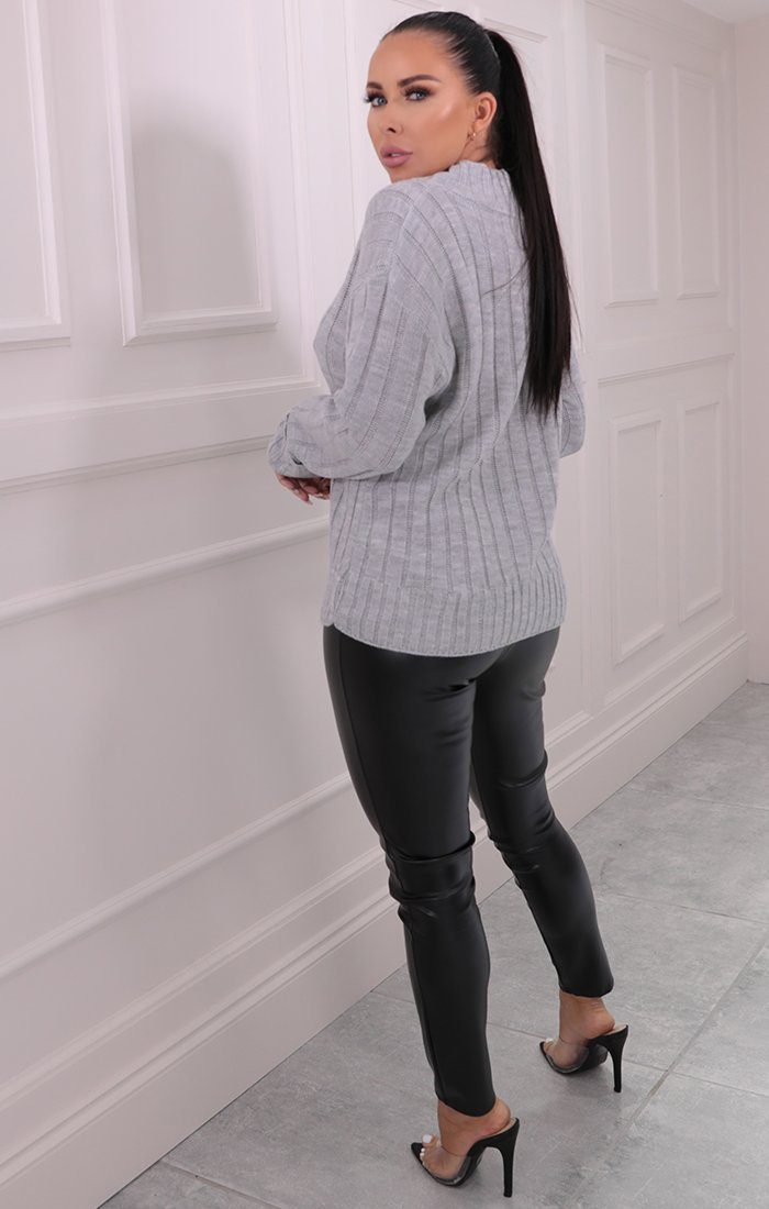 Grey Ribbed Knitted Long Sleeve Jumper - Posie