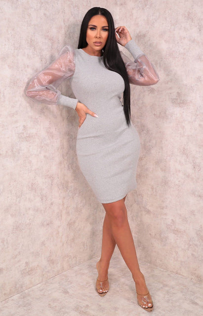 Grey Ribbed Organza Mesh Sleeve Bodycon Mini Dress - Destiny
