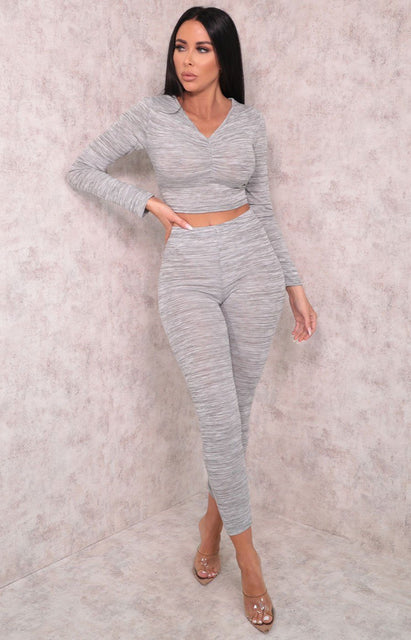 Grey Ruched Front Long Sleeve Leggings Loungewear Set - Rosa