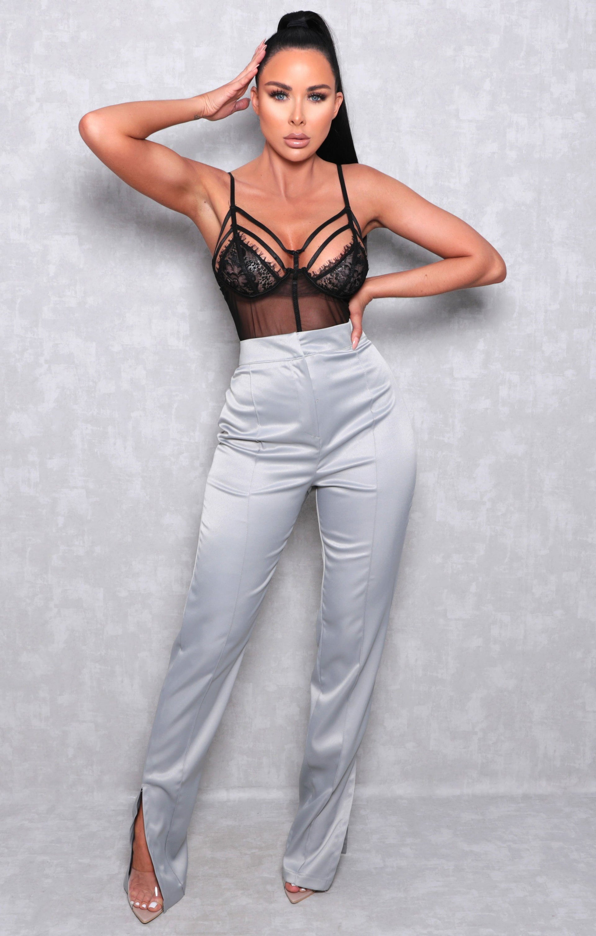 Grey Satin High Waisted Wide Leg Trousers - North